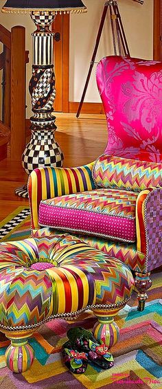 Most Popular Ideas MacKenzie Childs for Home Interior Design 30 Funky Furniture, Colorful Furniture, Unique Furniture, Painted Furniture, Furniture Design, Painted Dressers, Furniture Market, Lounge Furniture, Luxury Furniture