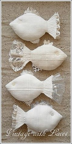 Catch of the Day: Fabric and Lace Fishes - and I don't even like fish! but these are darling. Vintage with Laces. Ck out her blog.: