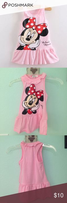 Toddler's Minnie Mouse Dress Dress Length   Bust.       Age 42cm/16.5 inches   30 cm     2T New and Adorable sleeveless tee shirt material dress. 100% cotton Dresses Casual