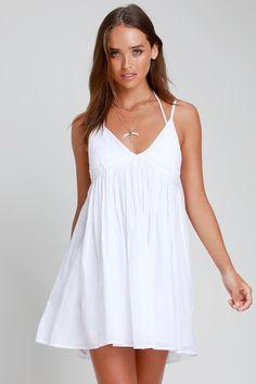 O'Neill Felix - White Swim Cover-Up - White Swim Dress - Cover-Up - primavera verano - Bikini Mode Swim Dress, Babydoll Dress, Cute Dresses, Casual Dresses, Summer Dresses, Short Dresses, Swim Cover, Cover Up, Nightwear Online