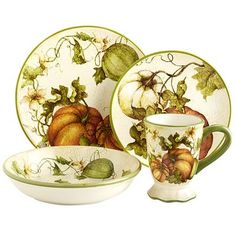 Here's one way to get your vegetables with every meal. Each glazed earthenware dish features a harvest of fresh-picked pumpkins. So even if your plate is empty, it will be filled with garden-fresh vegetables.