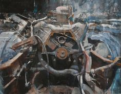 Engine-4, Engine #4, 2014, Acrylic, acrylic ink & charcoal on paper collage by Michael Kareken / Parts running October 16 – November 29, 2014 in MSP ?