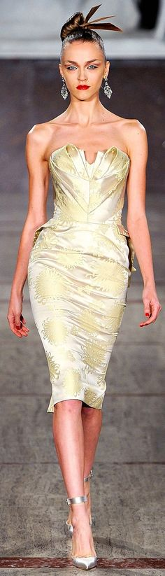 Zac Posen...love this for a bridesmaid look. Strapless brocade satin...sleek updo...bright eyes & bold lip...pencil/mermaid fit dress