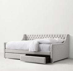 Devyn Upholstered Storage Daybed available as a full mattress Full Daybed With Trundle, Full Size Daybed, Daybed With Storage, Queen Daybed, Girls Bedroom Storage, Bedroom Ideas, White Daybed, Daybed Room, Daybed Couch