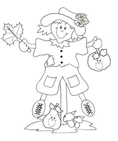 Epouvantail d'automne Leaf Coloring Page, Cool Coloring Pages, Adult Coloring Pages, Coloring Books, Fall Coloring Pictures, Autumn Art, Art Activities, Oeuvre D'art, Art Sketches