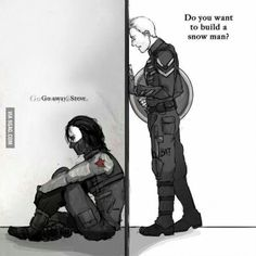 """Bucky? Please, I know you're in there.   I'm just happy that you live.  And I promise I will not hurt you.Don't be scare, Buck,  Just look at me.   I'm not going to leave you,   we are friends.   """"With you until the end""""...  Do you want to build a snowman?  (Ok, I had put that sort-of-parody of the last verse of the song in another similar pin but it goes better with his one is more sad)"""