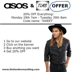 @asos & @thelondonmanblog offer you 20% Off Everything! Don't miss it! #asos #thelondonmanblog #fashion #fashiondiaries #fashionblogger #fashionista #fashionblog #lifestyle #lifestyleblogger #menswear #mensfashion #mensstyle #style #styleblogger #clothes #offer #follow #followforfollow #followme #like4like #likeforlike #likes4likes #london #summer