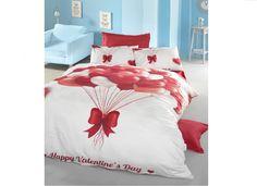 Lenjerii de pat 3 D : Lenjerie de pat bumbac satinat 3D happy valentines day pentru 2 persoane     Lenjerii de pat