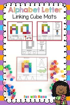 Counting Cube Alphabet Mats - Fun with Mama Educational Activities For Toddlers, Alphabet Activities, Creative Activities, Kindergarten Activities, Preschool Alphabet, Alphabet Worksheets, Alphabet Letters, Play Based Learning, Learning The Alphabet