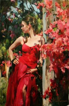 Mikhail (Michael) Garmash Lugansk, Ukraine) ed Inessa Garmash Lipetsk, Russia) are two award winning Russian painters, known for working in the Romantic /Impressionist /Figurative style. Woman Painting, Figure Painting, Fille Gangsta, Fine Arts College, Art Competitions, Red Art, Foto Art, Portrait Art, Portraits
