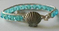 Seashell bracelet Aquamarine Czech Glass by Jennasjewelrydesign