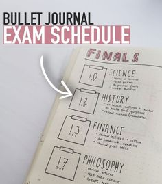 Write down you EXAM SCHEDULE in your bullet journal so you know when your exams are AND what you need to do to prepare for them :)