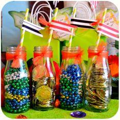 Disney Pirate Fairy Party - Milk Bottles and Straws on Etsy with Kraftsbykaleigh #kraftsbykaleigh #disneypiratefairy #tinkerbell