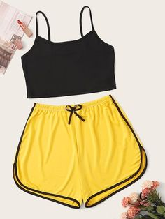 To find out about the Cami Top With Elastic Waist Shorts PJ Set at SHEIN, part of our latest Pajama Sets ready to shop online today! Cute Lazy Outfits, Teenage Outfits, Outfits For Teens, Pretty Outfits, Batman Outfits, Cute Pajama Sets, Cute Pjs, Cute Pajamas, Kids Pajamas