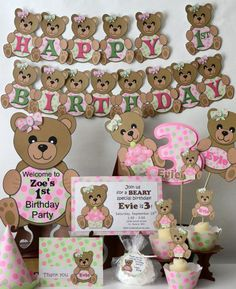 Girl Pink Teddy Bear Baby Shower or 1st Birthday Party Decorations ...