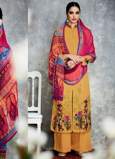 Achkan Style Yellow Color with Resham Work Incredible Unstitched Salwar Kameez