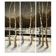 "CC Home Furnishings Set of 3 Snowy Winter Birch Tree Forest Scene Oil Paintings on Canvas 50""-lnt.com"