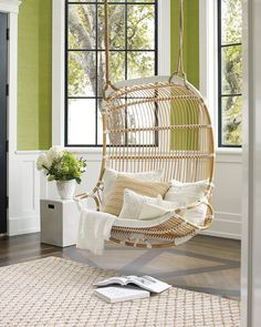 Having a great hammock or a swing in your backyard is cool, but putting one up inside your home? Now that's a refreshing way to give a new meaning to hanging out. There's something extra cozy (not to mention totally chic) about indoor hammocks and hanging chairs—it's like you can just curl up and float on cloud nine right there in your living room. No matter what your style is, from rainbows to macramé, there's a hanging retreat for everyone on this list. Hanging Papasan Chair, Swinging Chair, Indoor Hanging Chairs, Double Papasan Chair, Indoor Hammock Chair, Hanging Chair From Ceiling, Swivel Chair, Indoor Swing, Cool Chairs
