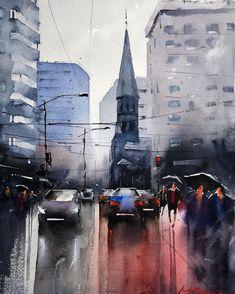 Luterana Street, Bucharest, on a rainy day! Bucharest, Rainy Days, Online Art Gallery, Watercolor Paintings, Abstract, Street, Artwork, Artist, Pen And Wash