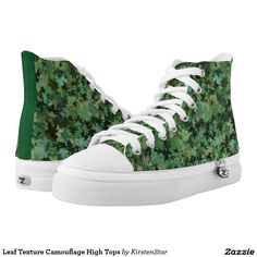 Leaf Texture Camouflage High Tops Printed Shoes