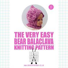 BEAR BALACLAVA Knitting Pattern Age 1-6
