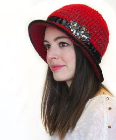 Cloche Hat in Red Wool Bucket Hat-Crochet Hat in red Red by Volang