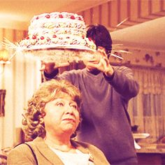 See if that was me I probably would have loved a delicious cake being dropped on my head...how convenient!
