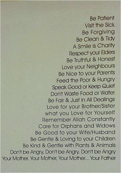 What a good Muslim should try to do with themselves:)