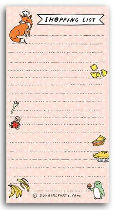 grocery shopping list notepad at http://shop.boygirlparty.com
