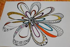 Great example of Zenspirations patterning in the perimeter of this flower.❤❤ Tangle Doodle, Tangle Art, Doodles Zentangles, Zen Doodle, Doodle Art, Doodle Designs, Doodle Patterns, Zentangle Patterns, Doodle Lettering