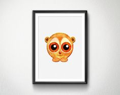 Cute Slow Loris Watercolor Nursery animals by BlessLifePrints Slow Loris, Blessed, Nursery, Watercolor, Unique Jewelry, Handmade Gifts, Cute, Prints, Animals