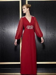 A-Line Chiffon Crimson V-Neck Long Sleeves Empire Waist Beading At Shoulder And Waist Floor Length Mother Of The Bride Dresses MOBD091