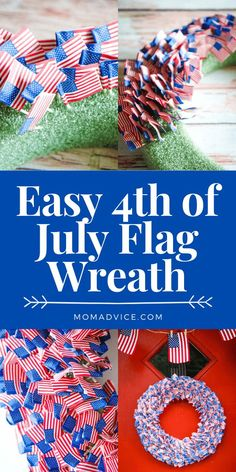 Easy 4th of July Wreath - MomAdvice Flag Wreath, Diy Wreath, Craft Tutorials, Craft Projects, Party Supply Store, Cupcake Picks, Wreath Forms, July Crafts, Bunting