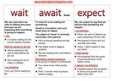 Wait vs Await vs Expect #c1advanced# #c2proficiency# #opencloze Cambridge English. Advanced grammar - grammaire anglaise avancée - Gramática inglesa avanzada - fortgeschrittene englische Grammatik - προηγμένη αγγλική γραμματική -zaawansowana gramatyka języka angielskiego