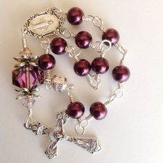 Car Rosary In Wine Glass Pearl, Crystal, and Amethyst Swarovski Crystal and Silver Metals / Auto Rosary / Single Decade / Tenner by VioletSunsetRosaries on Etsy