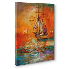 DongLin Art-Golden Sailboat Wall Art Modern Abstract Painting Wall Decor Landscape Paintings on Canvas Print Paintings for Wall or Home Decor and Living Room Sailboat Art, Sailboat Painting, Nautical Art, Framed Canvas Prints, Canvas Wall Art, Original Paintings, Original Art, Art Paintings, Canvas Painting Landscape