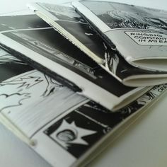Set of 4 mini notebooks - upcycled black and white comic books