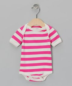 Take a look at this Fuchsia & White Stripe Organic Bodysuit - Infant by Max + Ella on #zulily today!