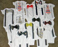 Bow tie and suspender onesies