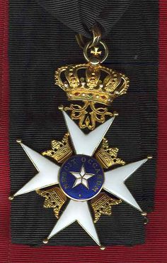 Sweden Order of North Star Commander's Cross in GOLD and enamel with original ribbon, superb quality and condition