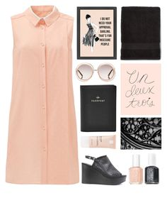 """GRAY & PEACH"" by dianakhuzatyan ❤ liked on Polyvore featuring Seychelles, Chloé, Essie, Rifle Paper Co, La Roche-Posay, FOSSIL, colors and grayandpeach"