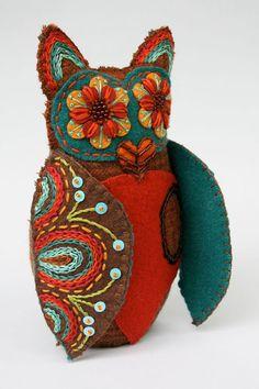 Wool Owl Softie- Embroidered Felt- Mexican Folk Art