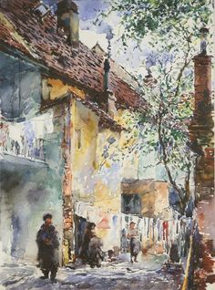 A watercolor by Moritz Mueller... showing everyday life in the Theresienstadt ghetto during World War II via Poignant Holocaust Artwork - nationalpost