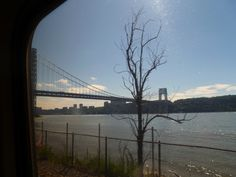 """Blogger Phillip Turner posted this photo, from inside one of our trains, on his blog """"The Great Gray Bridge."""" It's a good view of the George Washington Bridge. Thanks for sharing!"""