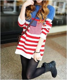 American Flag Sweater Striped