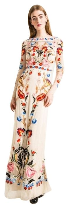 Temperley London Cream Floral Long Toledo Tulle Dress.