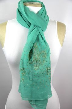 B124 Fleur De Lis Soft Long Aqua Mint Blue Green Turquoise Shawl Boutique