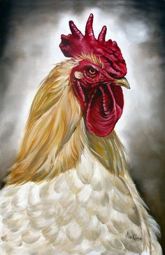 Rooster Painting - Rooster Head II by Ilse Kleyn