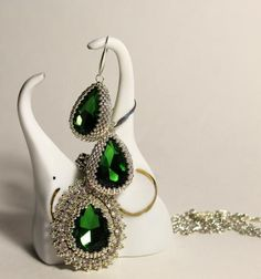 Beaded Emerald and Silver Crystal Earrings and Necklace set. Superb!