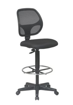 """Office Star Deluxe Mesh Back Drafting Chair with 20"""" Diameter Adjustable Footring, Black Fabric Seat"""